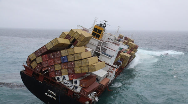 Beach container ship run aground