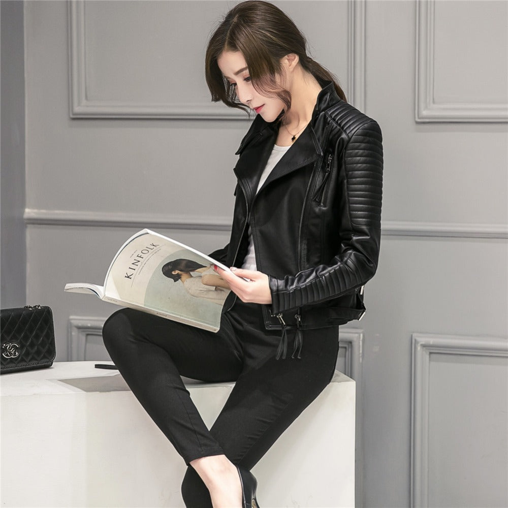 2018 New Fashion Spring Autumn Women Brand Faux Soft Leather Jackets