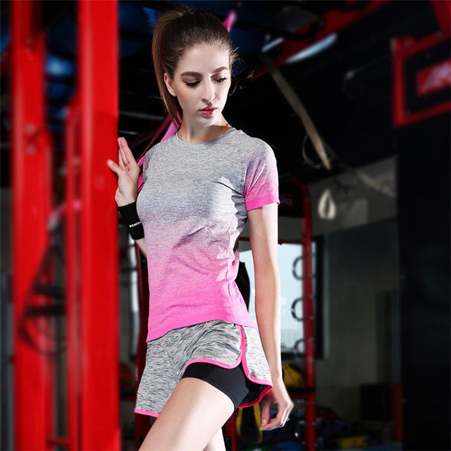 2018 Fitness Shirts+Shorts Workout Clothing Women's Gym Sport