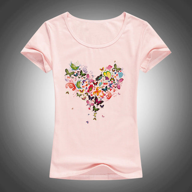 2017 summer Heart shape colorful butterfly t shirt women
