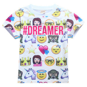 2017 Trolls children clothes Tops Tees girls and  T-Shirts smiley emoji t shirt cotton moana kid's cartoon printing clothing