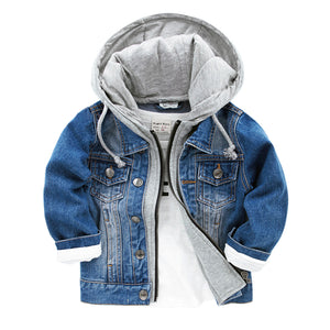 2018 New Baby Boys Denim Jacket Classic Zipper Hooded Outerwear