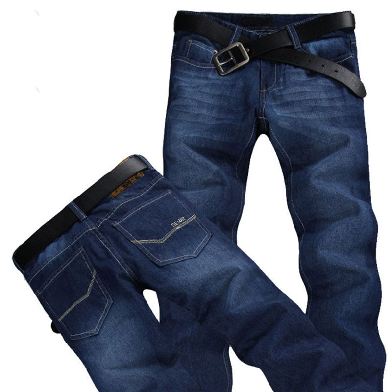 2017 Men's Warm Jeans Slim Straight Biker jeans Stretch Brand Ripped Jeans Fo