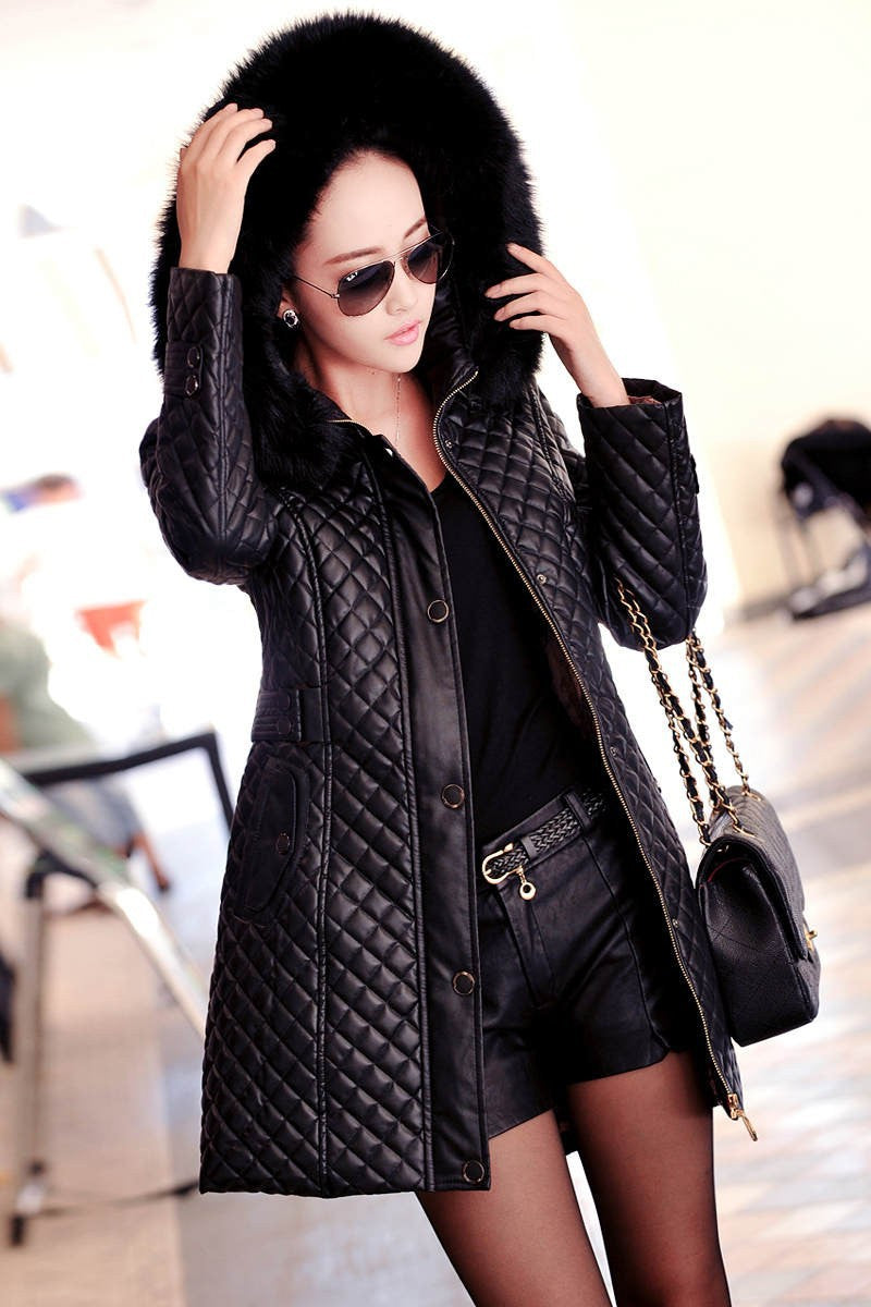 2018 Autumn Winter Leather Jacket Women Brand Hooded
