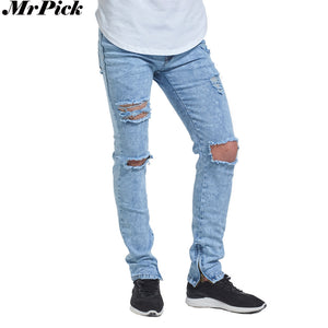 2017 New Ripped Ankle Zipper Skinny Jeans Men Fashion Casual Design
