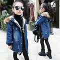 2018 Children kids girls denim jacket large fur collar cotton denim