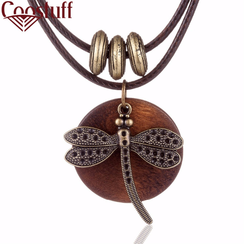 Fashion Choker Woman Necklaces vintage Jewelry Dragonfly Wooden
