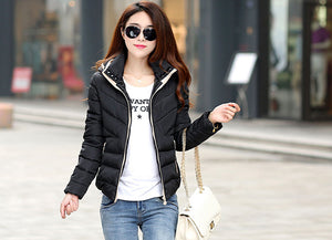 2018 New basic Jacket Women Autumn Winter Short Coats Solid Hooded
