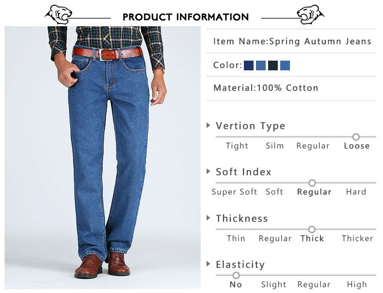2018 Men Cotton Straight Classic Jeans Spring Autumn Male Denim Pants Overalls