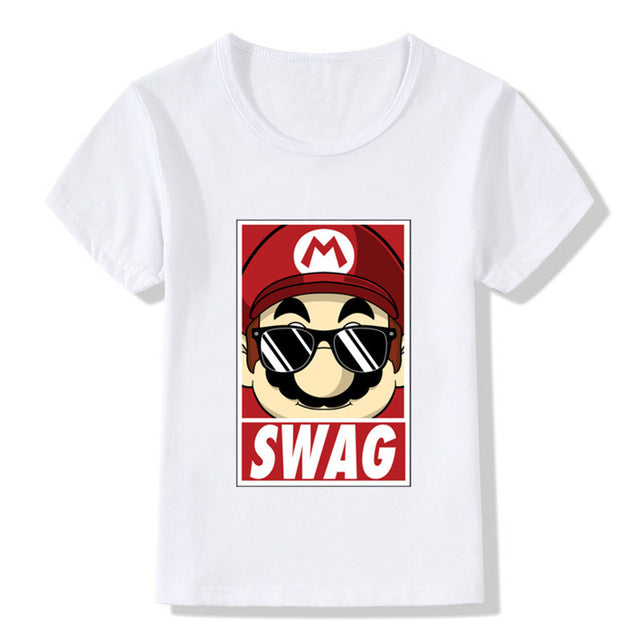 2017 Children Mario Swag Print Funny T-Shirts Kids Summer Tops Girls Boys