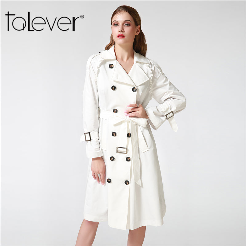 Talever Autumn Winter Trench Coat for Women Adjustable