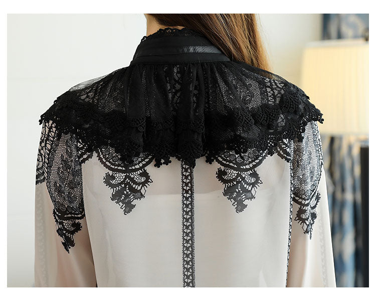 2018 Autumn Long Flare Sleeve Stand Collar Bow Tie Chiffon Shirts Women  Blouses Tops