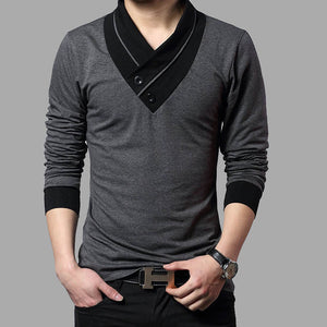 2017 Fashion Brand Trend Slim Fit Long Sleeve T Shirt Men P