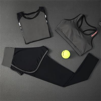2018 New Women Yoga Set Long Sleeve Shirt&Pants&Bra 3 Pieces