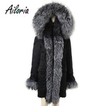 Ailoria Brand 2018 Top Quality Winter Women Real Fox Fur Coats hooded 100%