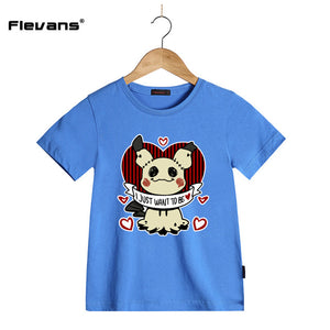 2018 Newest Children's Clothing Casual Tops T Shirts  Cartoon Printed Girls Summer 100% Cotton
