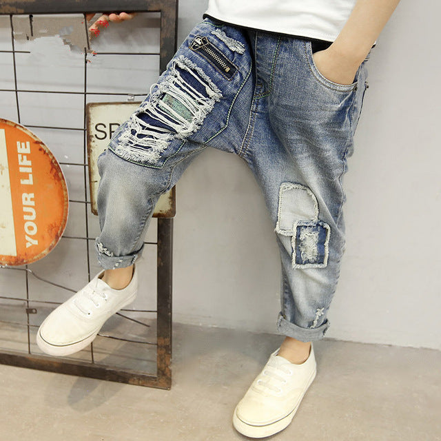 2018 Children's clothing  Spring and autumn boys hole jeans boy, Children's hole jeans. Fit: 5- 14 years