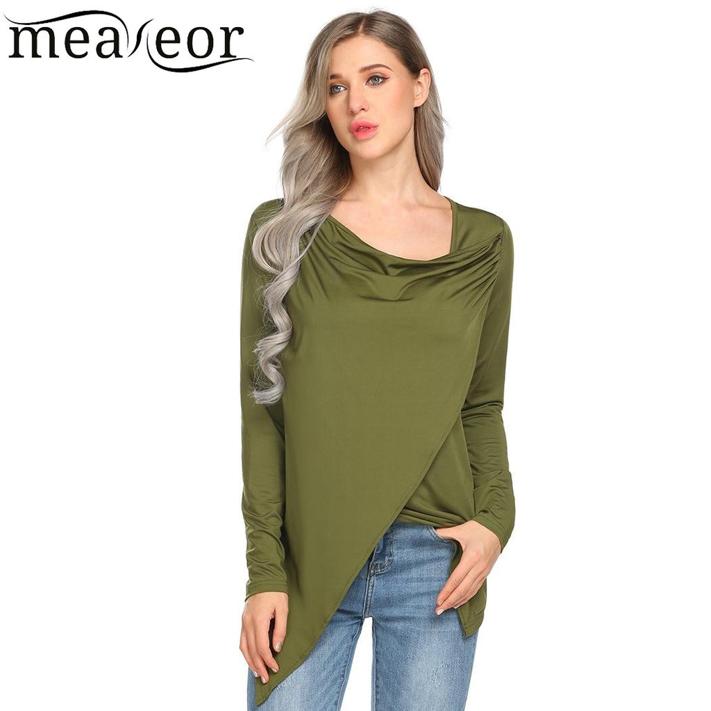 Meaneor Women Cowl Neck Long Sleeve Faux Wrap Asymmetric Hem