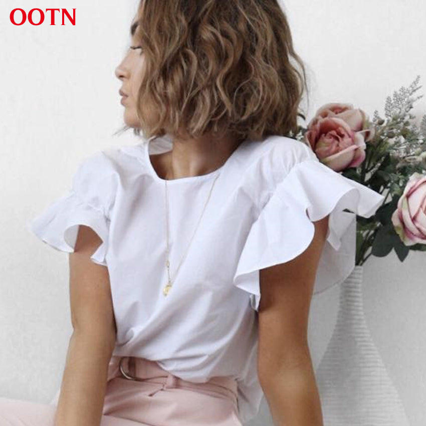 2018 Summer  Shirt Female Butterfly Sleeve  Top Cotton