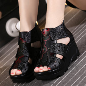 2018 Ethnic Style Genuine Leather Women Shoes Sandals