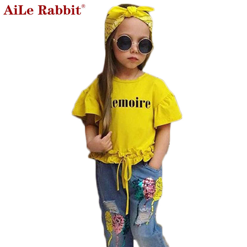 2018 Suits T Shirt+Jeans+ Headband 3 Pieces