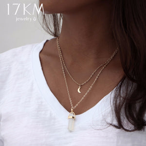 17KM Bohemian Opal Stone Moon Choker Necklaces New Fashion