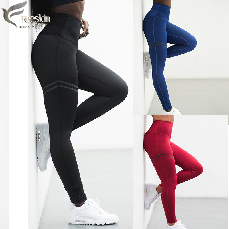 Freeskin Mesh Stripe Sport Leggings Women Quick Dry High