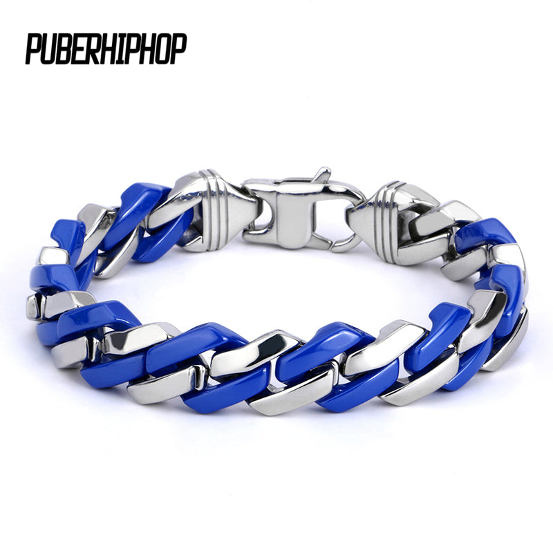 Fashion Link Chain Stainless Steel Blue and Silver Bracelet Women 2018