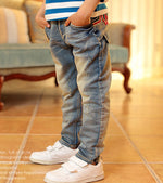 2018 New Fashion Kids Jeans Elastic Waist Straight pants five-pointed star pocket pants f