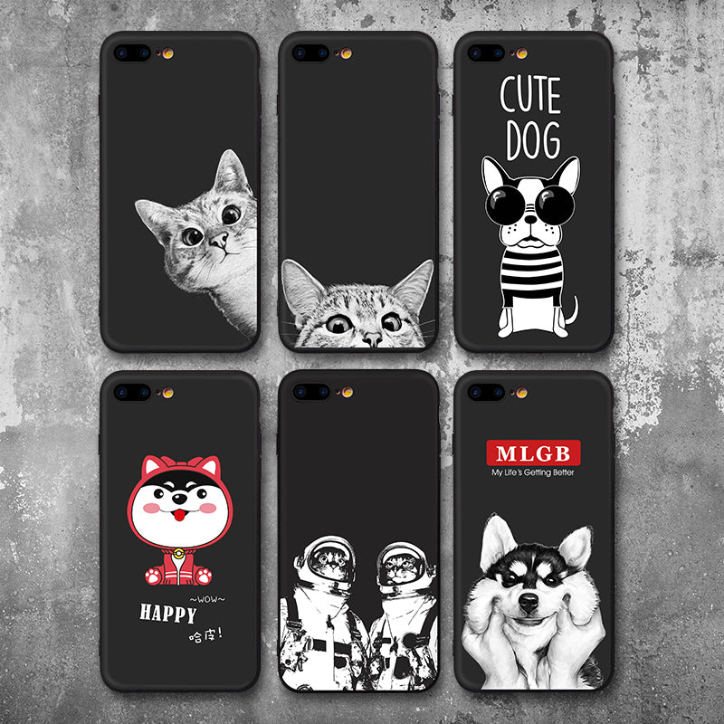 Cartoon Cute Cats Dogs Phone Case for iphone 7 8 7plus 8plus