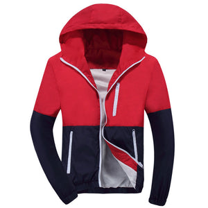 2018 Men Jacket Spring Summer Fashion Style Hooded Patchwork
