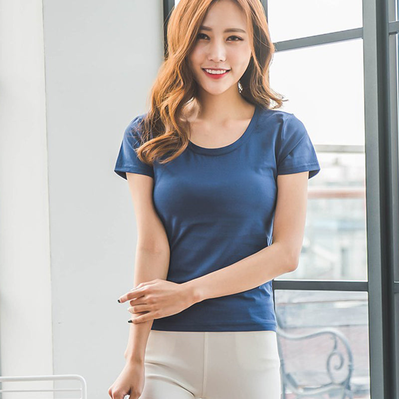 2018 New pure cotton t shirt women tops 6 solid color Female tshirt