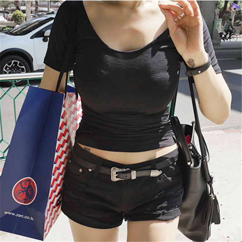 2018 New Sexy Cotton O-Neck Summer Tops Short Sleeve T Shirt Women