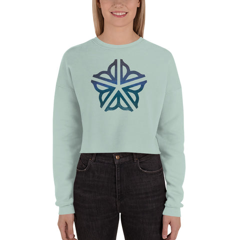 Crop Sweatshirt Featuring the Rochester, NY Flower City logo enhanced with colors that originated as Pastel Drawings by Orange Sky Creations Founder, Gretchen Lee Carletta.