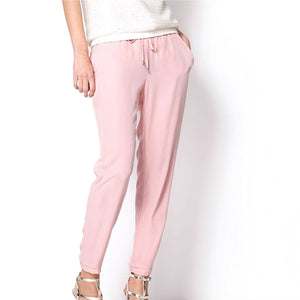 Beautiful Pink Casual Chiffon Pants