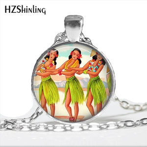 Handmade Hawaii Hula Girl Necklace