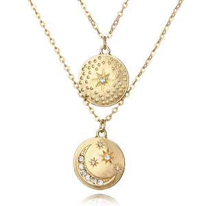 Star & Moon Double Layered Necklace
