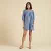 Organic Cotton Flor Shift Dress - Cornflower