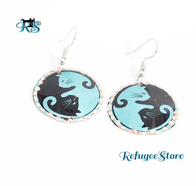 Yin Yang Cats Copper Earrings Handmade Jewelry for Sustainability and Integrity