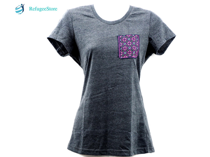 Handmade Hill Tribe Embroidery T-Shirt: CTS005