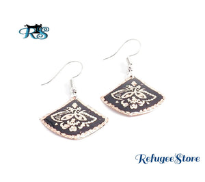 Anatolian Copper Earrings Handmade Turkish Style Black Silver Gold by RefugeeStore