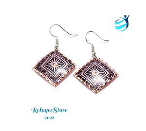 Turkish Earrings Handmade Athene Copper Design by RefugeeStore