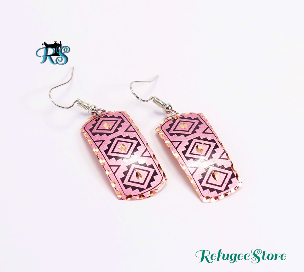 Handmade Turkish Copper Earrings Silk Road Antioch Inspired Designed by RefugeeStore Purple Haze Gold Rim