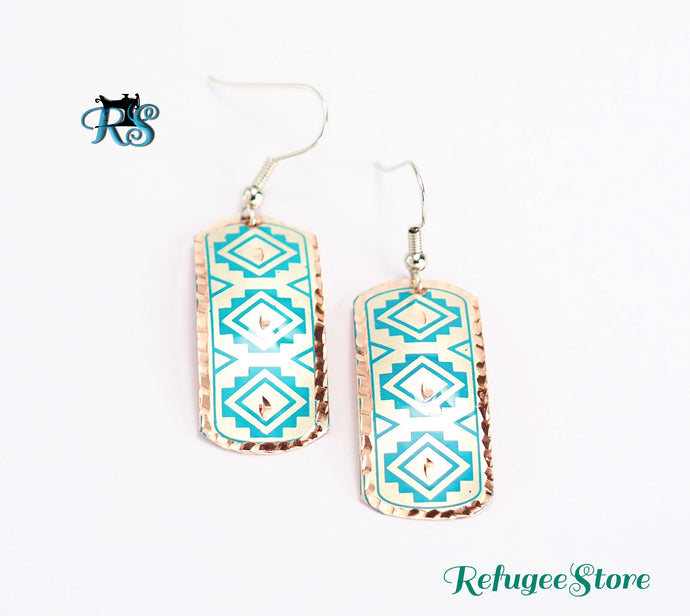 Handmade Turkish Copper Earrings Antioch Silk Road Inspired Design by RefugeeStore Silver Plate Navy Blue Pattern Indented Gold Rim Great Gift under $10