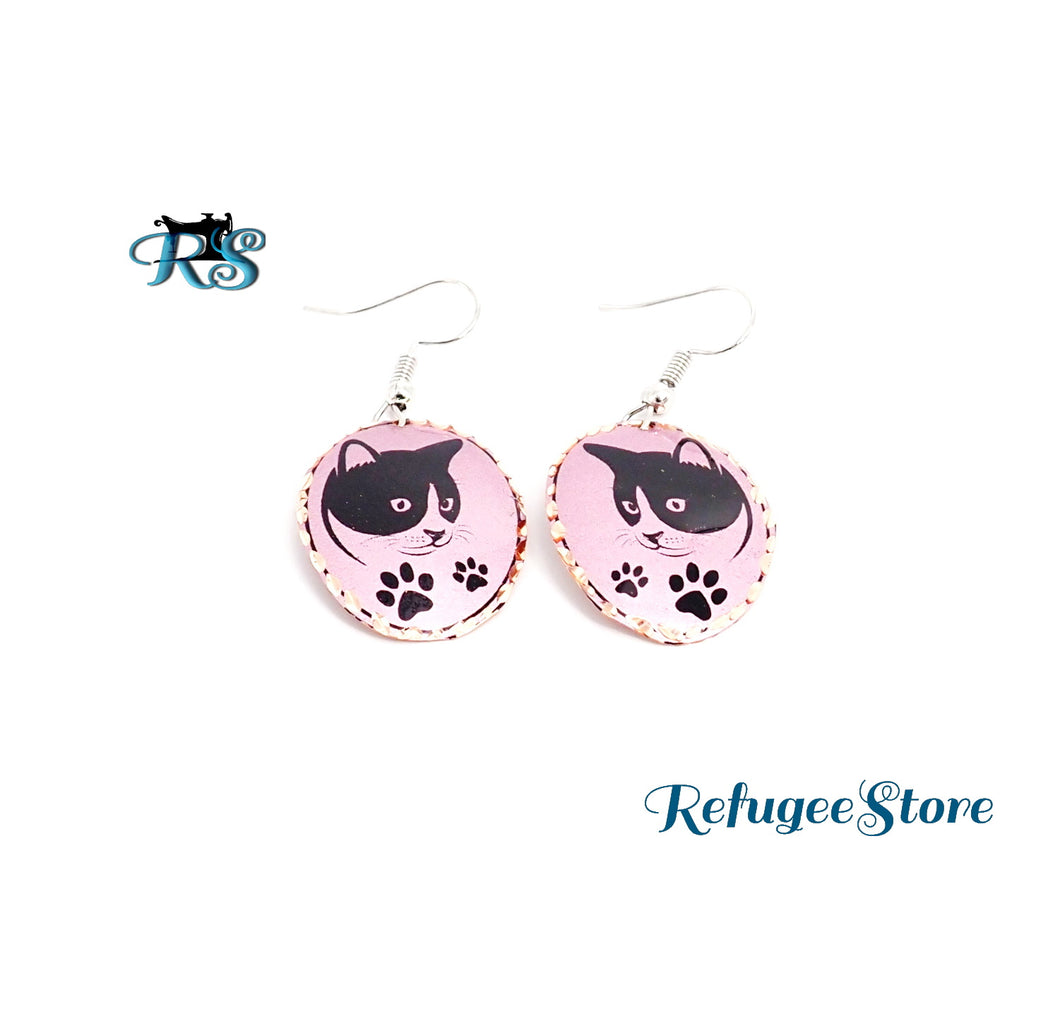 Handmade Turkish Copper Earrings Cats and Paws Animal Collection