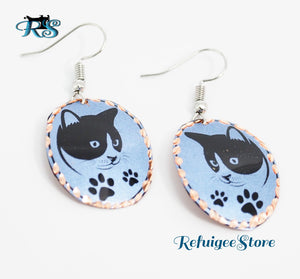 Handmade Turkish Copper Earrings Animal Drawing Design