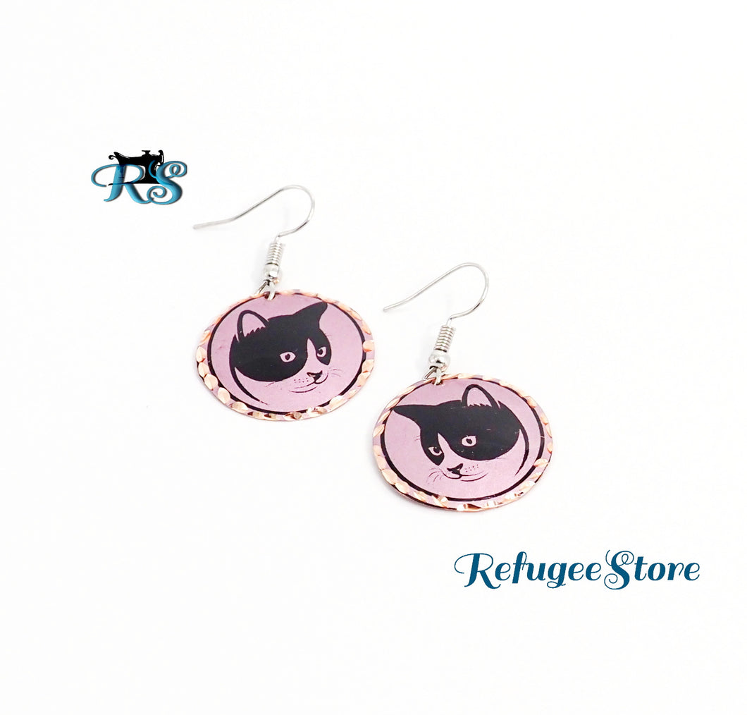 Handmade Turkish Copper Earrings Cat Profile by RefugeeStore