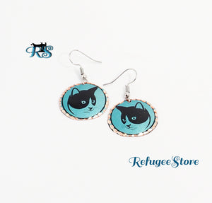 Handmade Turkish Copper Earrings Animal Reflective Design Cats and Paws by RefugeeStore