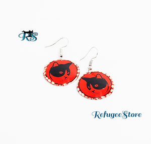 Handmade Copper Earrings Cat Profile Animal Collection by RefugeeStore