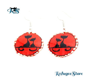 Turkish Copper Earrings Cats and Paws Animal Collection Handmade by RefugeeStore